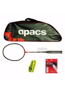 Apacs Ferocious Lite Red Free (Apacs 1102 Red Bag + Apacs Elite Gut + Tattoo Grip) Badminton Racket Package