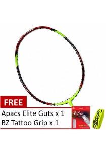 New Model - Apacs Lethal 6 Red Green Free Gift (Apacs Elite Guts + BZ Grip) Badminton Racket