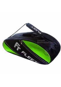 Fleet 2 Zips + Side + Shoe Compartment FT 307 Green Silver Badminton Bag