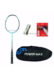 Power Max Dual 9 Blue Black + PM 101 Blue Bag + AP Elite Gut + Hi Soft Grip Badminton Racket