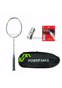 Power Max Dual 9 Blue Grey + PM 101 Green Bag + AP Elite Gut + Hi Soft Grip Badminton Racket