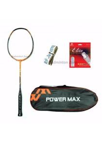 Power Max Dual 9 Orange Black + PM 101 Orange Bag + AP Elite Gut + Hi Soft Grip Badminton Racket