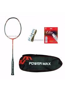 Power Max Dual 9 Red Black + PM 101 Red Bag + AP Elite Gut + Hi Soft Grip Badminton Racket