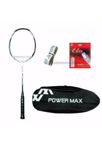 Power Max Dual 9 White Black + PM 101 SIlver Bag + AP Elite Gut + Hi Soft Grip Badminton Racket