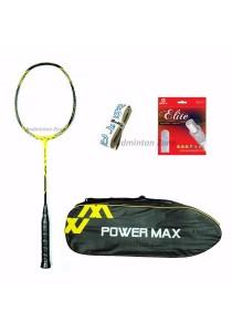 Power Max Dual 9 Yellow Black + PM 101 Yellow Bag + AP Elite Gut + Hi Soft Grip Badminton Racket