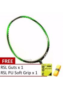RSL Thunder 799 Green Black + FREE (RSL R66 Guts + RSL PU Grip) Badminton Package
