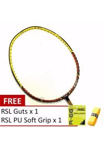 RSL Thunder 722 Yellow Black + FREE (RSL R66 Guts + RSL PU Grip) Badminton Package
