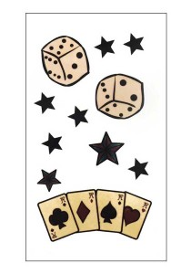 Poker Cards And Dice Temporary Tattoos