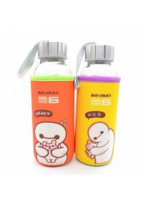 Kids Water Glass Bottle with Cartoon Pouch 300ml - Baymax (Random Color)