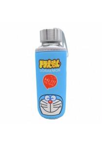 Kids Water Glass Bottle with Cartoon Pouch 300ml - Doraemon