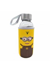 Kids Water Glass Bottle with Cartoon Pouch 300ml - Minion