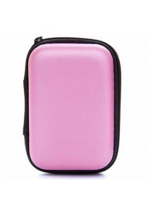 Earphone Cable Key Travel Storage Pouch Organizer (Pink)