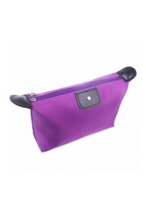 Small Foldable Dumpling Cosmetic Pouch Organizer Bag (Purple)