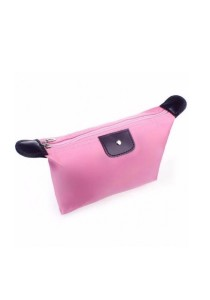 Small Foldable Dumpling Cosmetic Pouch Organizer Bag (Pink)