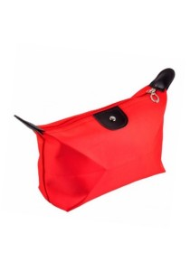 Small Foldable Dumpling Cosmetic Pouch Organizer Bag (Red)