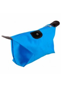 Small Foldable Dumpling Cosmetic Pouch Organizer Bag (Blue)