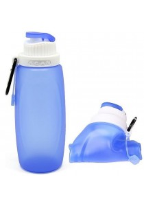 BPA Free Silicone Collapsible Water Bottle For Outdoor And Travel Use (Blue)