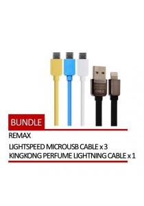 REMAX 4 In 1 Lightspeed Micro USB Cable 3 Units + KingKong Perfume Lightning Cable 1 Unit