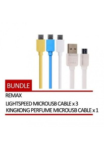 REMAX 4 In 1 Lightspeed Micro USB Cable 3 Units + KingKong Perfume Micro USB Cable 1 Unit