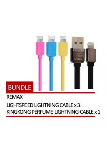 REMAX 4 In 1 Lightspeed Lightning Cable 3 Units + KingKong Perfume Lightning Cable 1 Unit