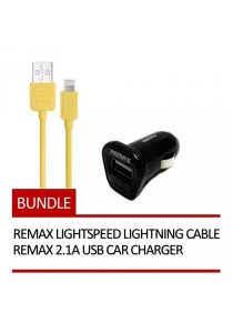 REMAX Lightspeed Lightning Cable (Yellow) + REMAX 2.1A USB Car Charger (Black)