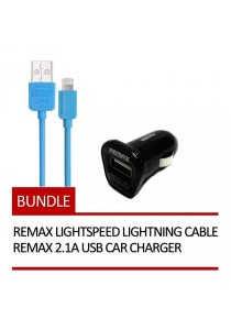 REMAX Lightspeed Lightning Cable (Blue) + REMAX 2.1A USB Car Charger (Black)