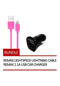 REMAX Lightspeed Lightning Cable (Pink) + REMAX 2.1A USB Car Charger (Black)