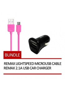REMAX Lightspeed Micro USB Cable (Pink) + REMAX 2.1A USB Car Charger (Black)