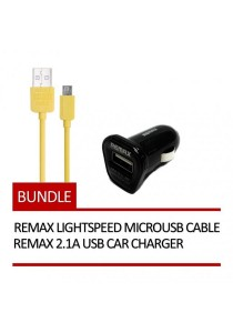 REMAX Lightspeed Micro USB Cable (Yellow) + REMAX 2.1A USB Car Charger (Black)