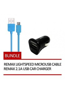 REMAX Lightspeed Micro USB Cable (Blue) + REMAX 2.1A USB Car Charger (Black)
