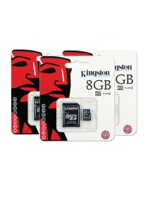 3 Units Kingston 8GB Micro SDHC Class 4 Flash Memory Card with Adapter