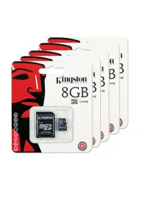 5 Units Kingston 8GB Micro SDHC Class 4 Flash Memory Card with Adapter