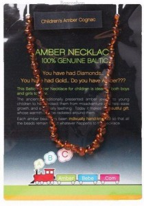 AMBERBEBE Children's Necklace Baltic Amber (Cognac)