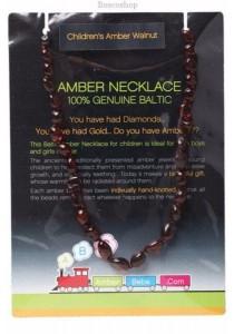 AMBERBEBE Children's Necklace Baltic Amber (Walnut)