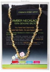 AMBERBEBE Children's Necklace Baltic Amber (Lemon)