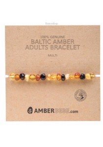 AMBERBEBE Adult's Bracelet Baltic Amber (Multi-coloured)