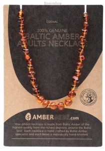 AMBERBEBE Adult's Necklace Baltic Amber (Cognac)