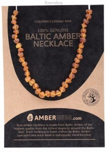 AMBERBEBE Children's Necklace Baltic Amber (Cognac Raw)