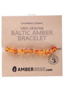 AMBERBEBE Children's Bracelet/Anklet Baltic Amber (Cognac)