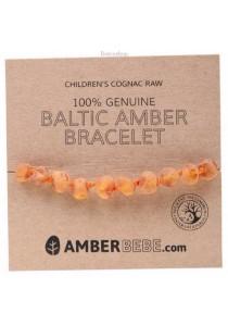 AMBERBEBE Children's Bracelet/Anklet Baltic Amber (Cognac Raw)