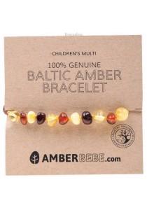 AMBERBEBE Children's Bracelet/Anklet Baltic Amber (Multi-coloured)