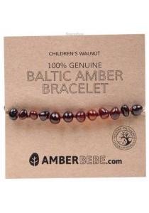 AMBERBEBE Children's Bracelet/Anklet Baltic Amber (Walnut)