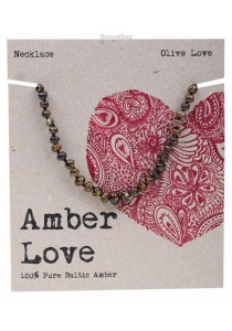 AMBER LOVE Children's Necklace Baltic Amber (Olive Love)