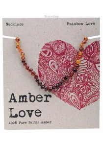 AMBER LOVE Children's Necklace Baltic Amber (Rainbow Love)