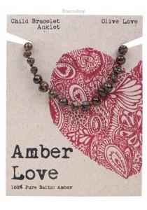 AMBER LOVE Children's Bracelet/Anklet Baltic Amber (Olive Love)