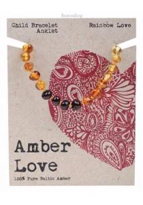 AMBER LOVE Children's Bracelet/Anklet Baltic Amber (Rainbow Love)