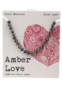 AMBER LOVE Adult's Necklace Baltic Amber (Olive Love)