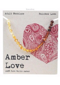 AMBER LOVE Adult's Necklace Baltic Amber (Rainbow Love)