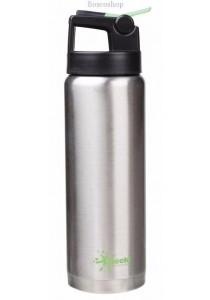 CHEEKI Silver Insulated Sports Bottle - Straw Lid (600ml)