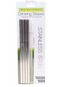PRIMAL HEALTH PRODUCTS Stainless Steel Straw - Straight 4 Pack + Cleaning Brush